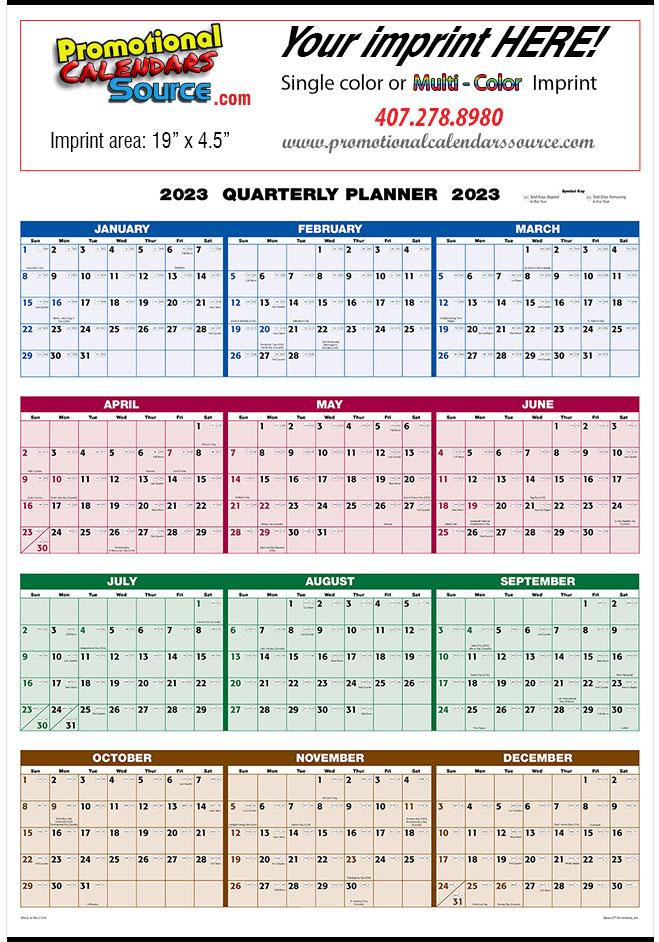 12 Month View Planner Calendar 4-Color Size 22x29