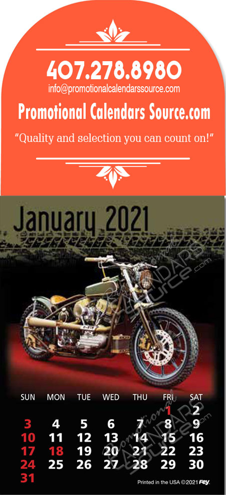 Motorcycles Large Arch Stick-Up Calendar