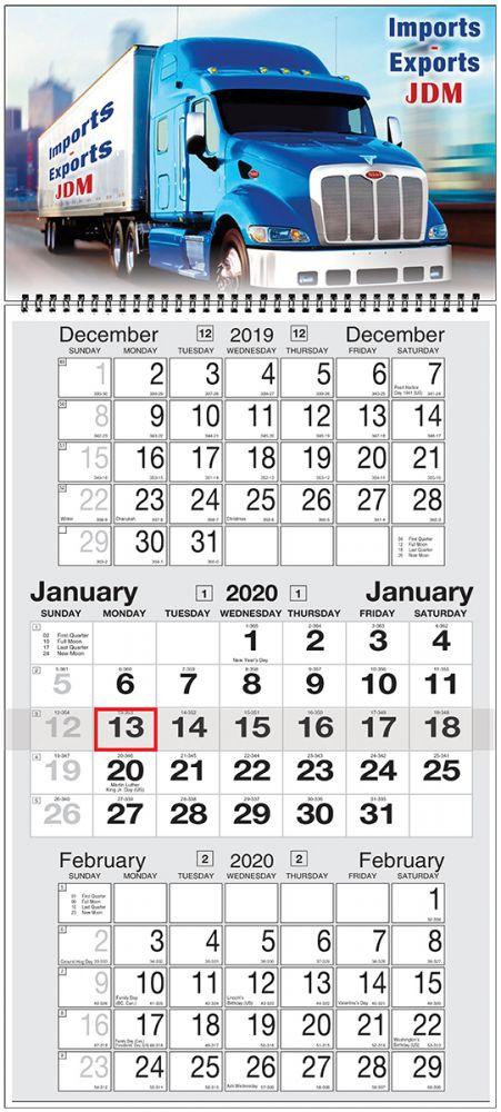 Custom 3 month 2 Panel calendar w Week Numbers & Julian Dates, 12
