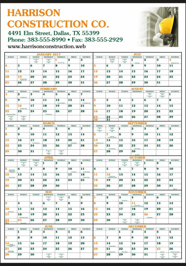 Custom Printed Full-Color Ad 12 Month-In-View Calendar 22x34
