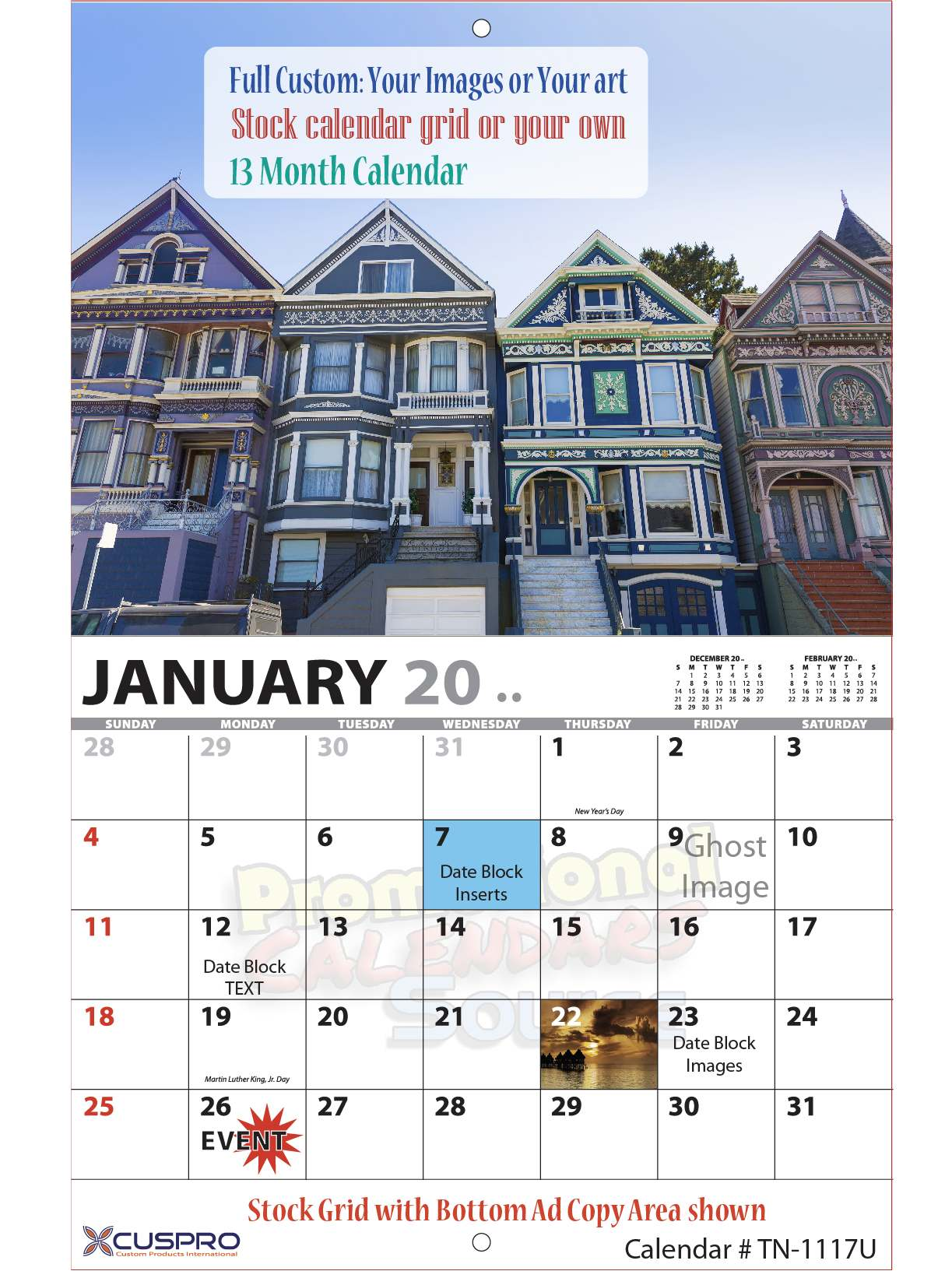 Fully Custom Photo Wall Calendar, 13 Months, Stapled, 11x17, Full-Color Imprint, Your Images, Your Art