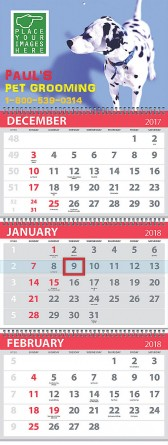 3-Month View 4 panels Commercial Calendar, Spiral binding, Week Numbers, 13x33, Stock Grid