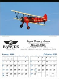 Vintage Planes 2 Month View Executive Calendar
