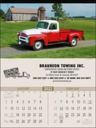 Antique Trucks 2 Month View Automotive Wall Calendar