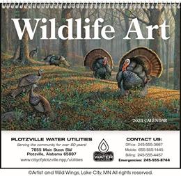Wildlife Art Pocket Calendar Custom Printed, Size 8x13
