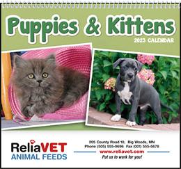 Puppies & Kittens Wall Pocket Promo Calendar, Size 8x13