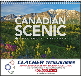 Customized Pocket Wall Calendar, Canadian Scenic images, Size 8x13
