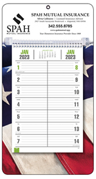 Promotional Bi-Weekly Memo Calendar with Full-Color Patriotic Background
