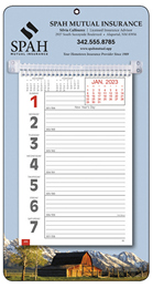 Big Numbers Weekly Memo Calendar w Rural Theme Picture