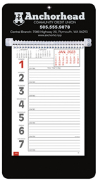 Promotional Big Numbers Weekly Memo Calendar  - Black
