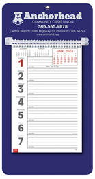 Promotional Big Numbers Weekly Memo Calendar  - Blue