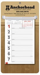 Promotional Big Numbers Weekly Memo Calendar  - Butcher Block
