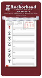 Promotional Big Numbers Weekly Memo Calendar  - Maroon
