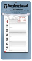 Promotional Big Numbers Weekly Memo Calendar  - Metallic Blue