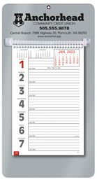 Promotional Big Numbers Weekly Memo Calendar  - Silver