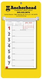 Promotional Big Numbers Weekly Memo Calendar  - Yellow