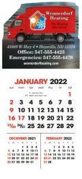 3 Month View Stick-Up Calendar with Full Color Imprint and Two Color Grid