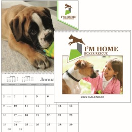 Custom Single Image Wall Calendar,  w Spiral Bind Pad