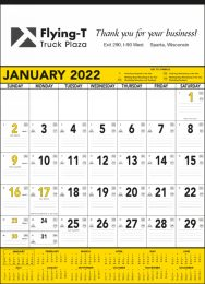 Yellow & Black Contractor Calendar, Julian Dates, 18x25