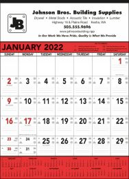 Contractor Calendar Red & Black 13 Sheet,