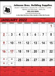 Contractor Calendar Red & Black 13 Sheet,
