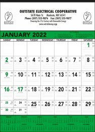 Contractor Commercial Calendar Green & Black, 18x25