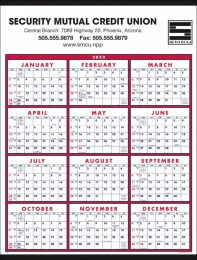 12 Month in View Calendar Red-Blue, Size 22x29, Week Numbers, Full-Color Option