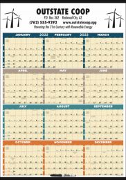 Laminated w/Marker Year In View Calendar size 27 x 38, Full-Color, Julian Dates, Week Numbers