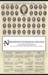 Past US Presidents 12-Month-In-View Calendar