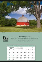 Jumbo Size Calendar with Summer Barn Scene, Tinned Top