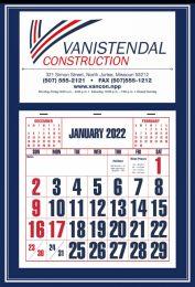 Large Apron Calendar, Blue, Large Numbers, Size 15x22
