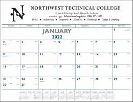 Promotional Desk Pad Calendar w Blue & Black imprint 22x17