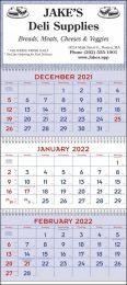 Red & Blue 3 Month Calendar w Julian Dates, 13x29