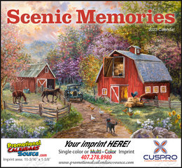Scenic Memories Illustrations Calendar, 2019, Stapled