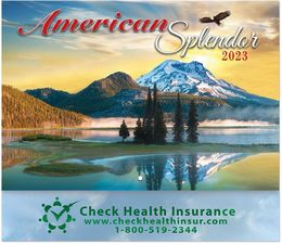America Splendor Promotional Wall Calendar  - Stapled - Foil Stamped Ad Copy