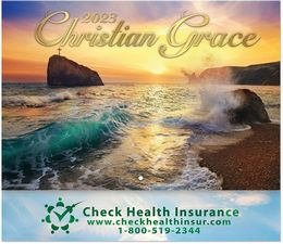 Christian Grace Stapled Wall Calendar with Metallic Foil Stamped Ad