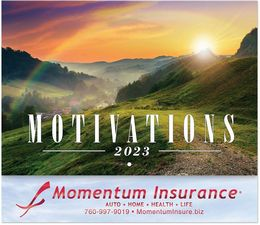 Motivations Calendar with Foil Stamped Ad & Staple Binding