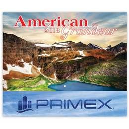 American Grandeur Wall Calendar  - Stapled, Foil Stamped Ad Copy