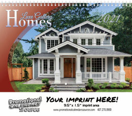 Homes Wall Calendar, Stitched, Metallic Foil Stamped Ad, Real Estate