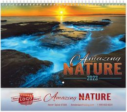 Amazing Nature Wall Calendar, Metallic Foil Stamped Ad, Spiral Binding