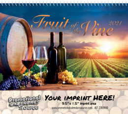 Fruit of the Vine Wall Calendar, Spiral, Metallic Foil Stamped Ad, Vineyards