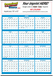 Full Year In View Wall Calendar with Blue & Black Grids, 20.75