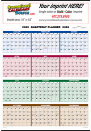 Full Year View Single Sheet 4-Color Calendar Size 20.75x28.75