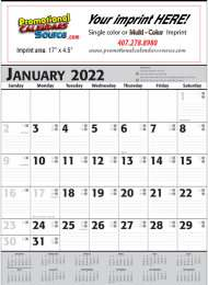 Commercial Planner Contractor Calendar, Grey & Black,