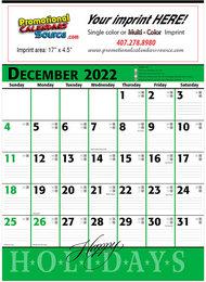 Commercial Promotional Planner Calendar Green & Black