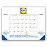 22x17 Desk Pad Calendar with Blue & Gold Grid & 3 Imprint Areas