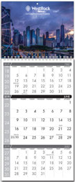 Custom 3 Months-In-View 2 panel calendar with Week Numbers, 11x25.5