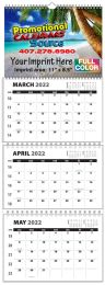Custom 3-Month 4 panel wall calendar with week numbers, size 11x31.5