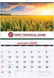 Single Photo Custom Wall Calendar size 17 x 24, Stitched Pad, Full-Color Imprint