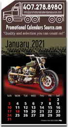 Motorcycles Stick-Up Calendar with Full-Color Pad